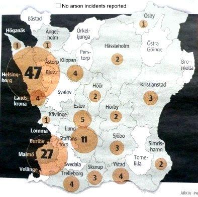 Skåne arson map