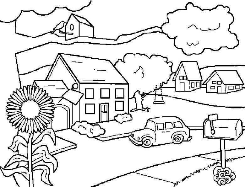 Dibujo de un pueblo para pintar - Imagui