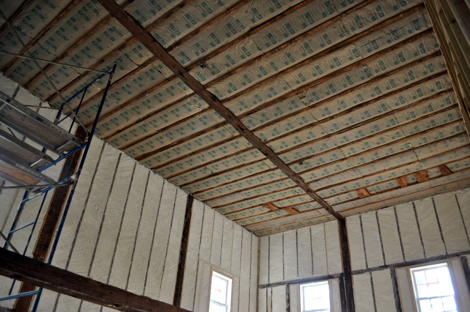 The Ceiling In Greatroom Has Been Insulated With Fibergl Bats On Second Floor Will Be Later When Get Their