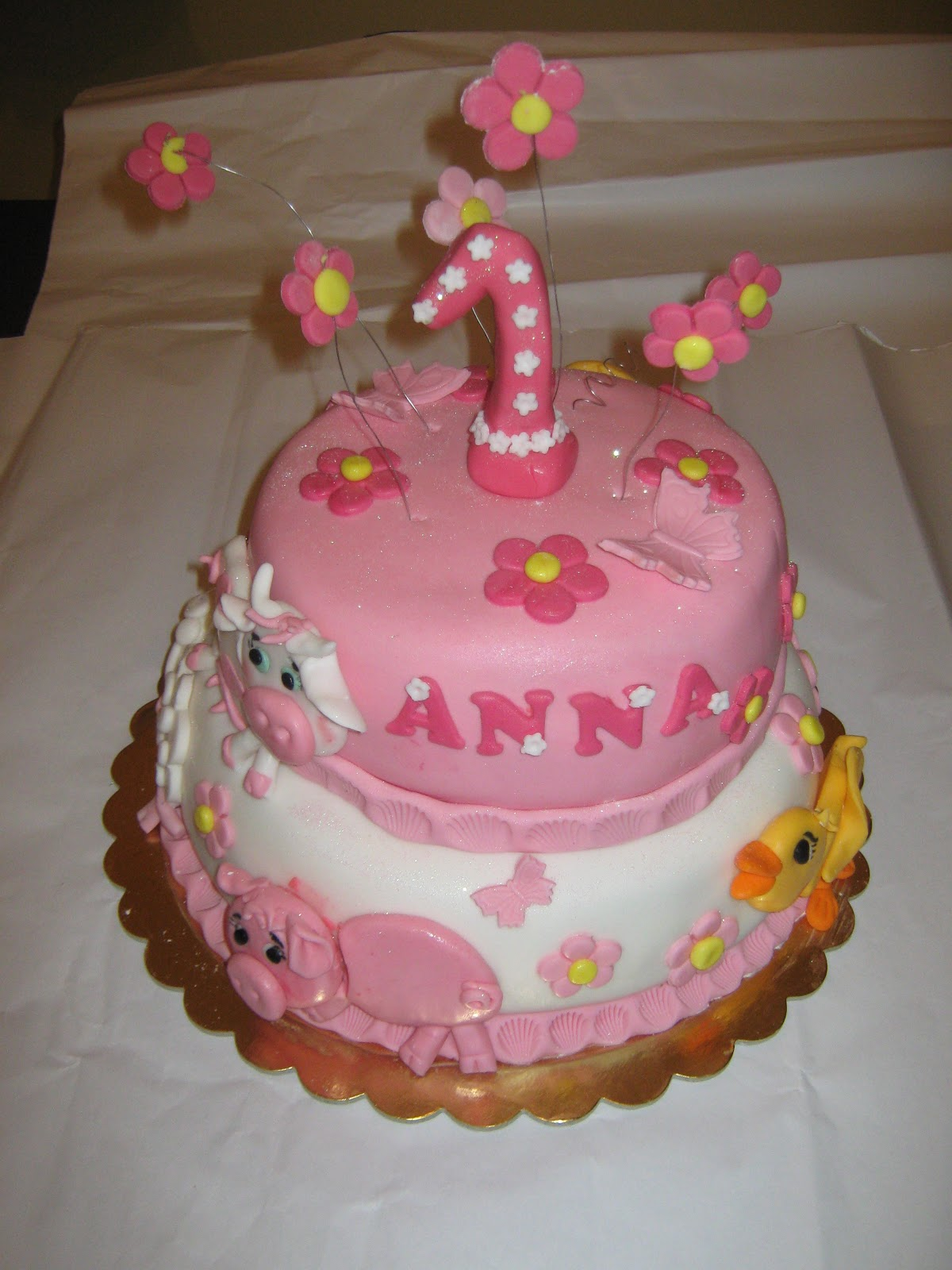 Favoloso Le Torte di Barbara: primo compleanno in bianco e rosa JB01