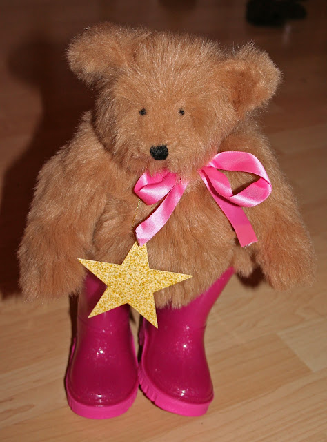 Traditional Teddy Bear  wearing pink wellingtons Full View
