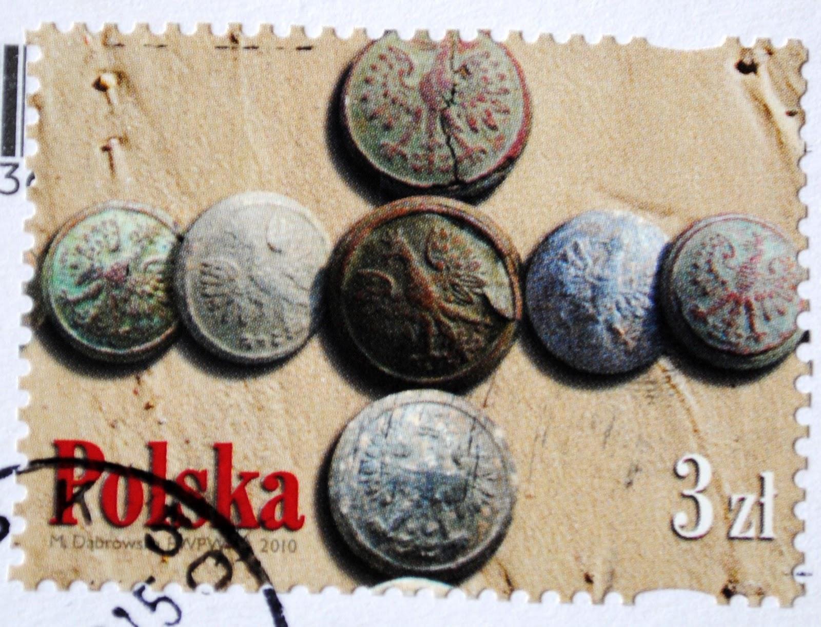 monety na znaczku