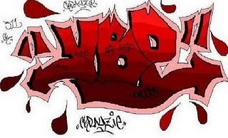 blood, graffiti alphabet