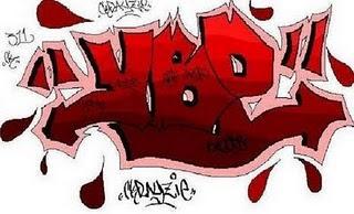 blood, graffiti alphabet