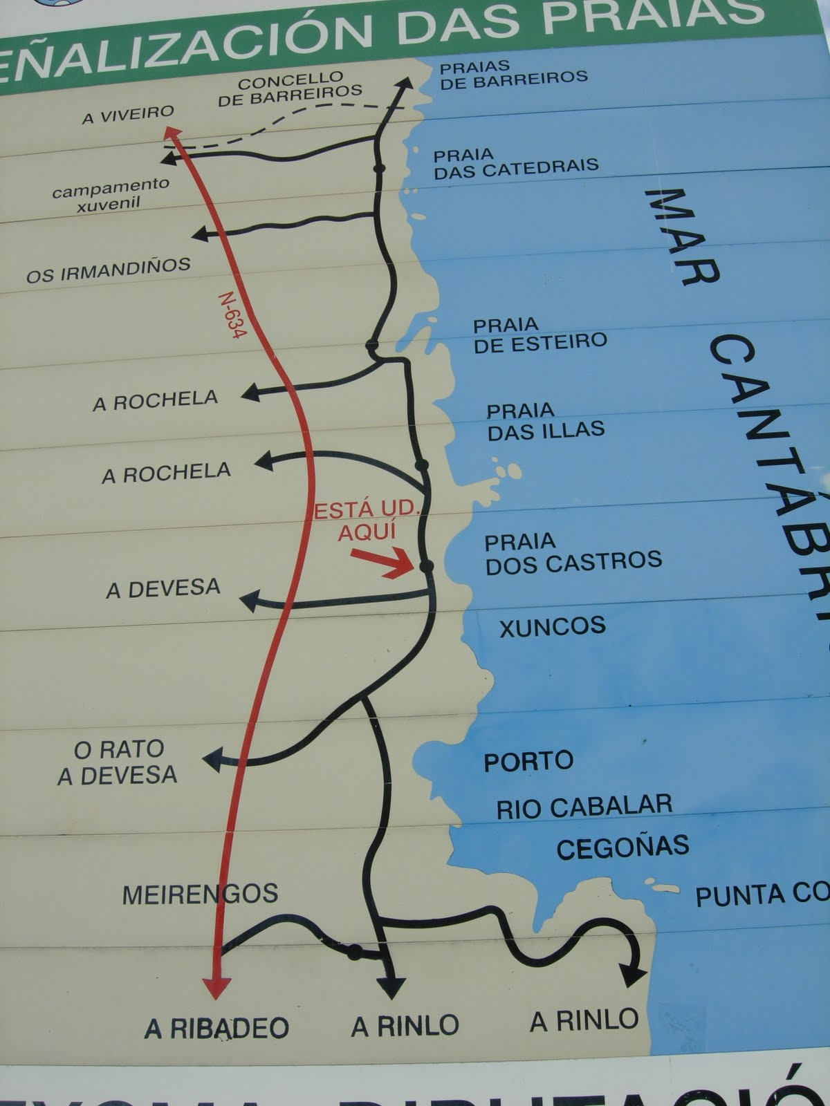 playa de las catedrales ribadeo mapa