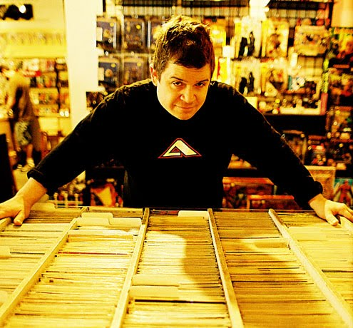 Patton Oswalt at his second home, the comic shop
