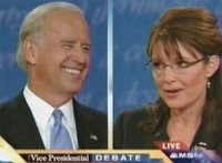 Another one of Caribou Barbie's talking points cracks Senator Biden's shit up. Or maybe he's amused that Palin dodged yet another one of Gwen Ifill's questions. She dodges subpoenas, the press and now the moderator. Never trust a big wink and a smile.