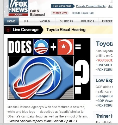 Missle Defense Agencys Web site featires a new red,white and blue logo-described as scarily similar to Obamas campaign logo, as well as the symbol of Islam