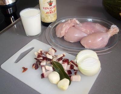 Ingredientes para elaborar el pollo al estilo de Correcillas
