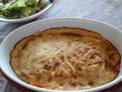 lasaña con salsa de champiñones