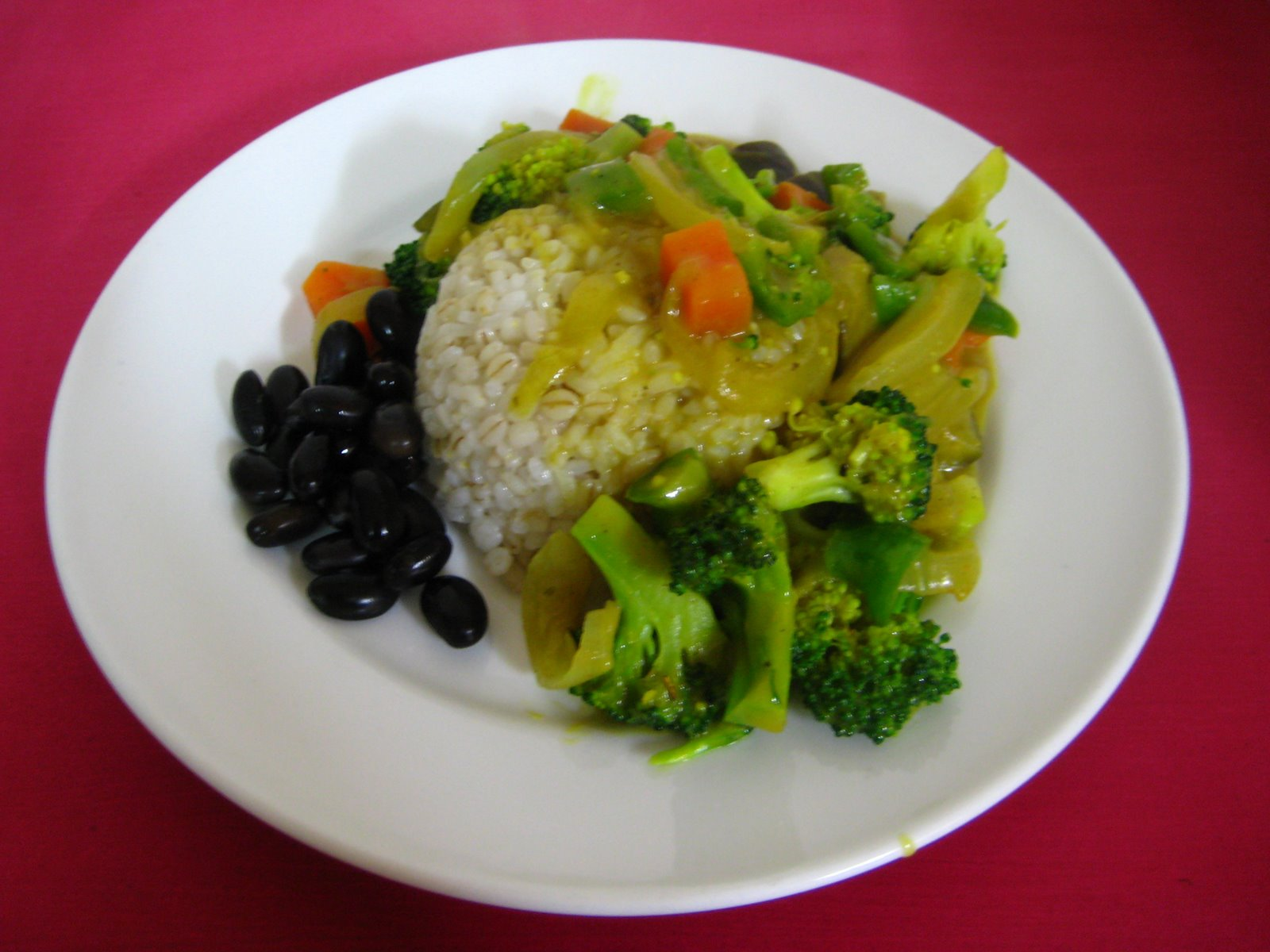 Rice with Veggie Coconut Curry & Black Beans