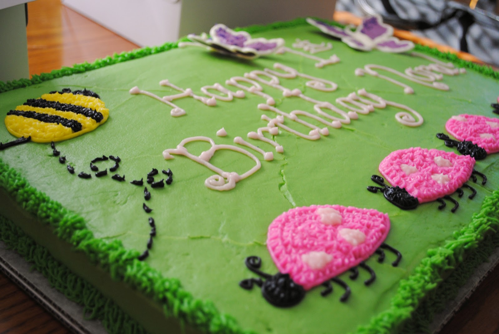 Pink And Green Ladybug Birthday Cake