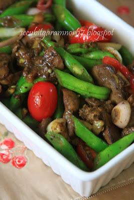 Masak Ati Ayam : masak, Secubit, Garam:, Kacang, Buncis, Goreng