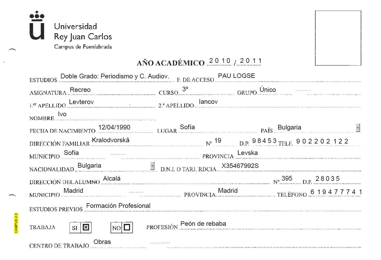Ficha Alumno Urjc