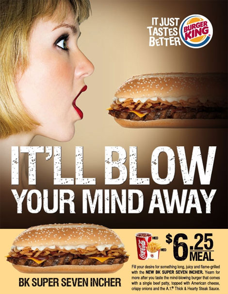 Burger King urges to suck away at 18 centimetric hamburgers
