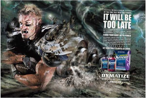 "Advertising of sports food Dymatize shows ""power"""