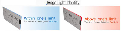 Live Checking Card Edge Light Identify - blue light indicates expenditure is within limit and red light symbols its above limit