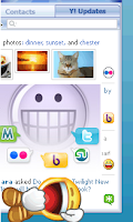 see what your friends are sharing on Yahoo!, Flickr, Twitter, MyBlogLog, Yahoo! buzz, stumble-upon and many more with Yahoo! Messenger 10 Updates view