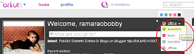 Orkut chat status colored bubble above status update what are you up to