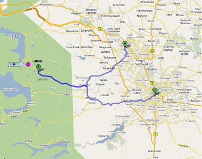 route map - Panduranga Kshetra, Hadshi Temple, Pune