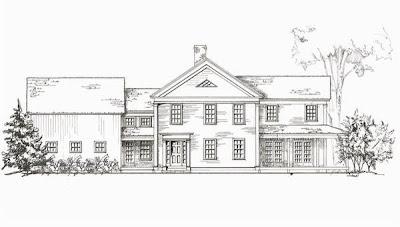 Dibujo de alzada de una residencia tradicional americana
