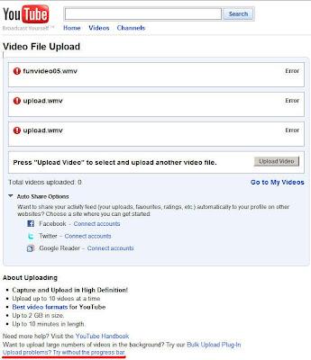 problems uploading to youtube