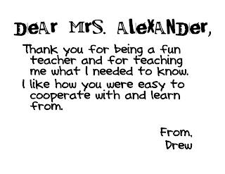 Moss Moments: teacher thank you notes.