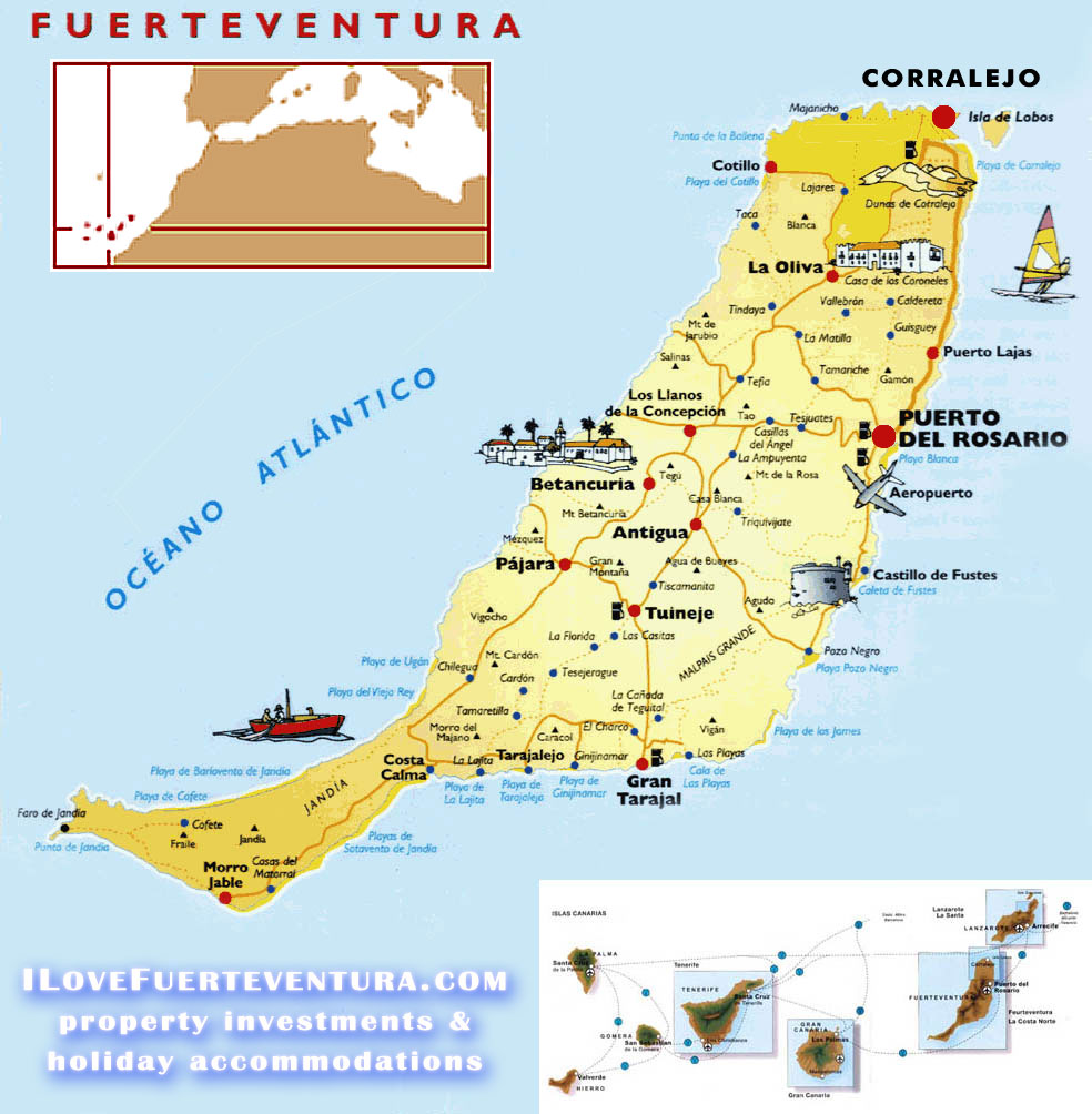 Mapa De Fuerteventura Municipios.Mapa Turistico Fuerteventura Mapa
