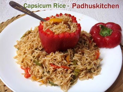 Capsicum rice capsicum masala rice bell pepper rice padhuskitchen tips grill one capsicum stuff it with capsicum rice and serve it just to make it look more appealing photograph taken before grilling the capsicum ccuart Image collections