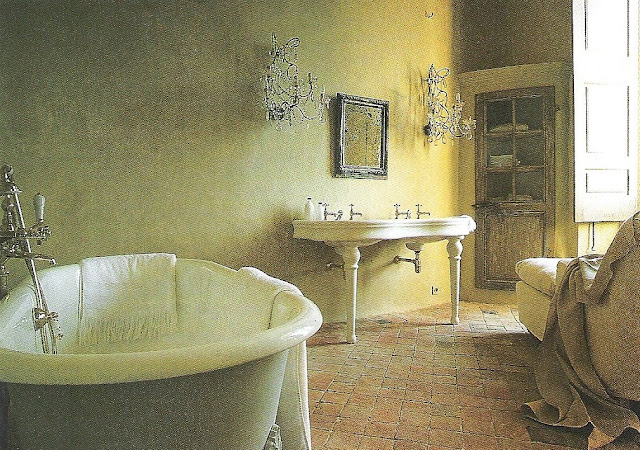 Côté Sud, rustic elegant bath - with chaise - edited by lb for linenandlavender.net - http://www.linenandlavender.net/2009/07/sorrow-can-be-alleviated-by-good-sleep.html