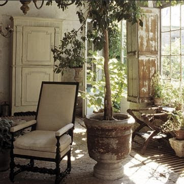 Axel Vervoordt, old orangerie, indoor-outdoor living, edited by lb for linenandlavender.net