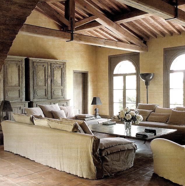 Open beam living room via Côté Sud Aout-Sept 2007 as seen on linenandlavender.net