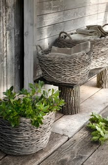 Athezza natural gray woven baskets as seen on linenandlavender.net