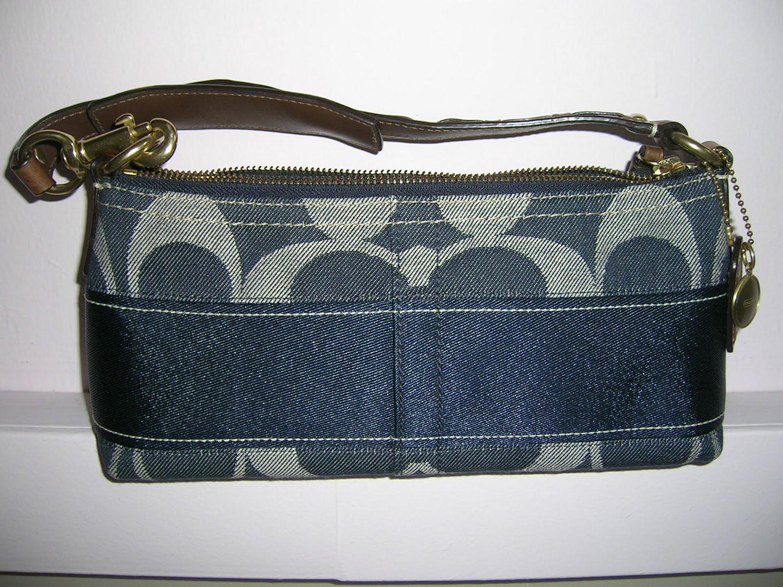 Coach Denim Signature Stripe Small Shoulder Handbag 170