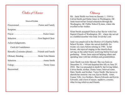Obituary template obituary program example for Template for writing an obituary