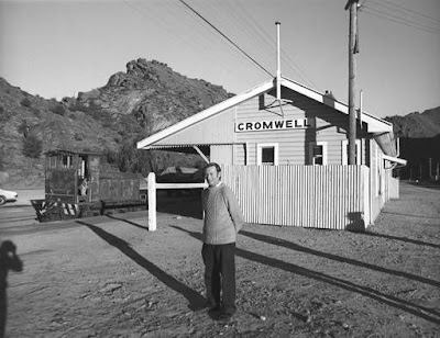 Gary Forster, Station Master, and Carl the dog, Cromwell. The Cromwell station was demolished and the line through the gorge to Clyde was pulled up by the end of 1978.
