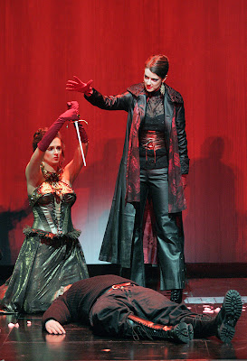 Tara McCredie (La Haine), Adria McCulloch (Armide), and Eric Sampson (Renaud) in Gluck's Armide, Maryland Opera Studio, photo © Cory Weaver 2007