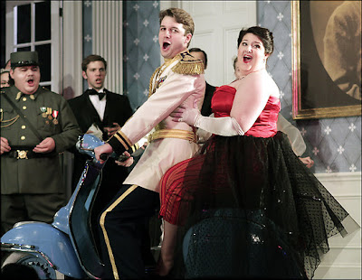 Liam Bonner (Belfiore) and Tamara Wilson (Marchesa) in Un Giorno di Regno, Wolf Trap Opera, photo by Carol Pratt