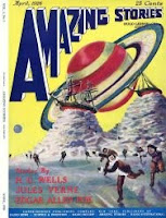 Cover image of the inaugural issue of Amazing Stories magazine, April 1926. It depicts a scene from the story Off on a Comet - or Hector Servadac by Jules Verne. Saturn and its rings in a close-up view are silhouetted against the sky.
