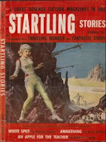 Cover image of the Summer 1955 combo issue of 3 magazines - Startling Stories, Thrilling Wonder Stories, & Fantastic Story Magazine.