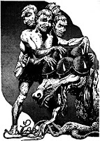 Illustration accompanying the original publication in Amazing Stories of short story Death of a B.E.M. by Berkeley Livingston