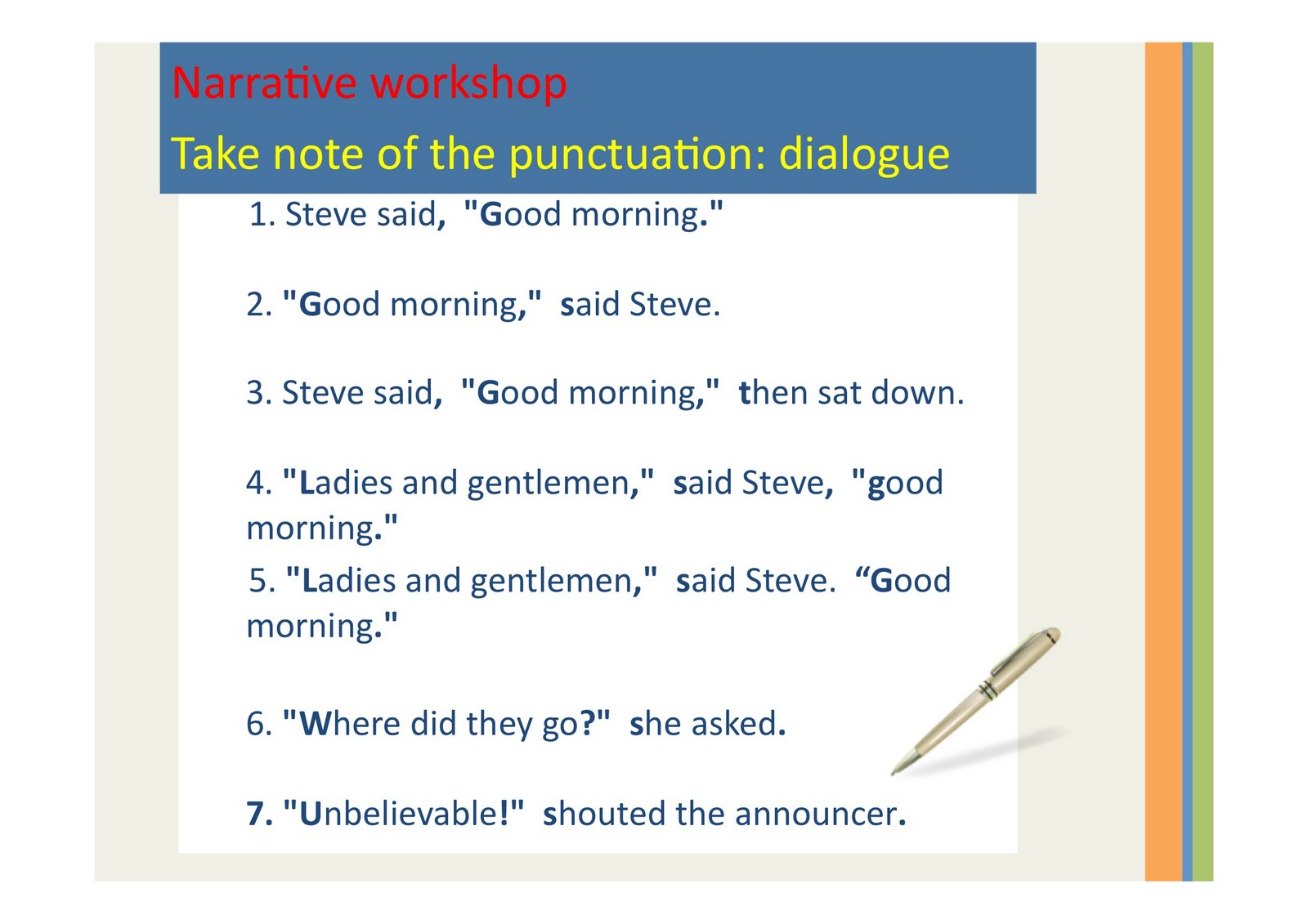 Punctuating Dialogue Examples