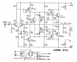 Electronics Circuits: Power Amp OCL 100W by Transister