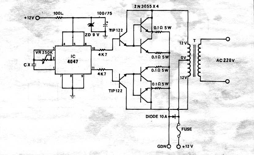 Electronics Circuits: Inverter 100W by IC 4047 + 2N3055