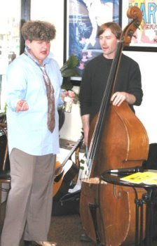 Poet Ana Elsner with Chad Ostwald on double bass