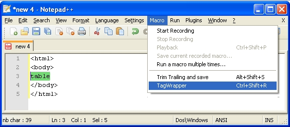 Lazy Explorer: Creating Notepad++ Macro for HTML Tag Wrapper