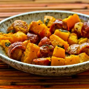Roasted Winter Squash and Sausage with Herbs from Kalyn's Kitchen