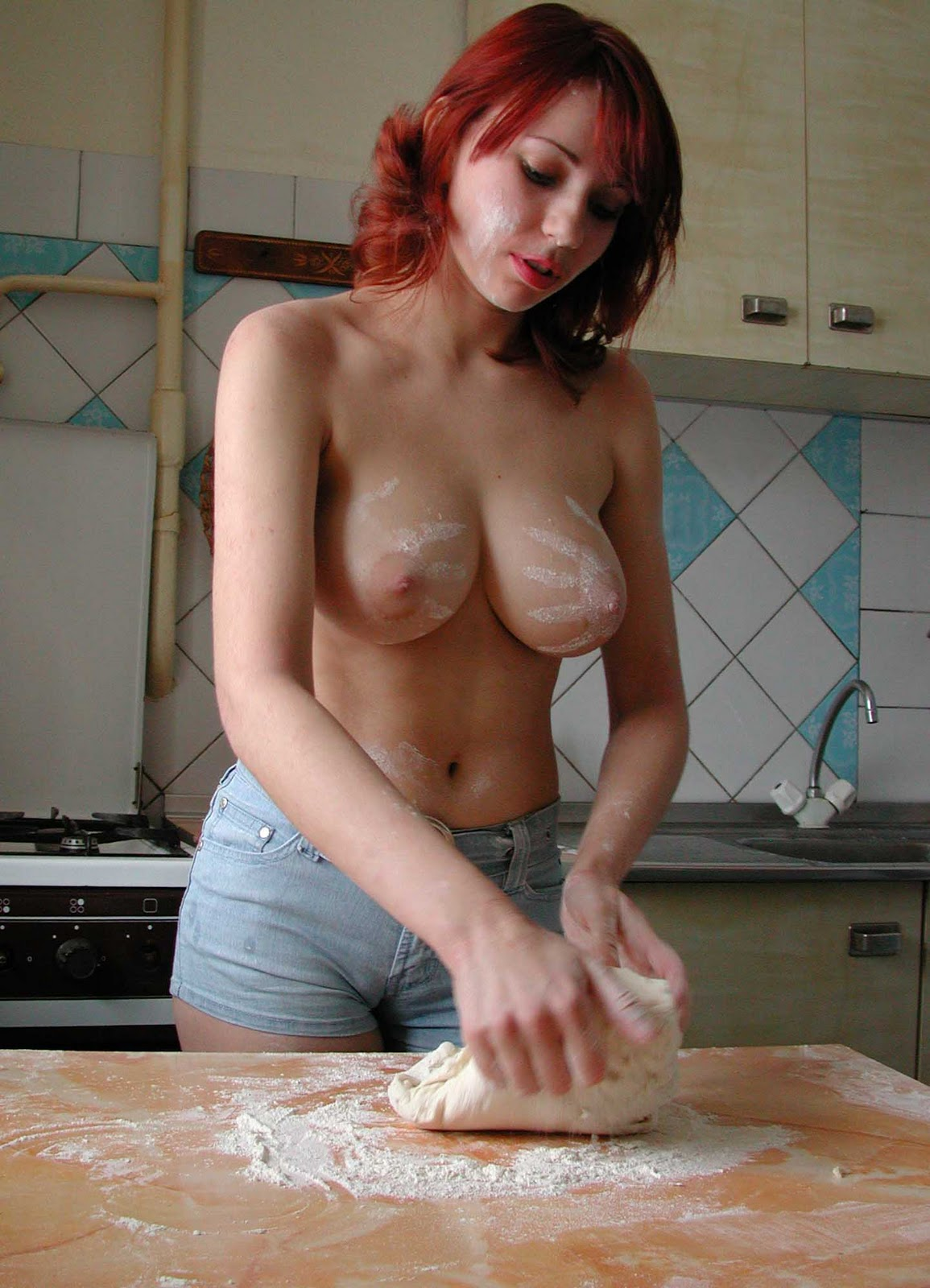 Topless Cooking Video