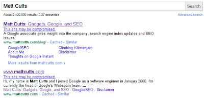 Fitur notifikasi pembajakan di Google