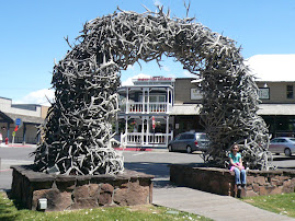 An arch made of elk horns(a boy scout troup made the arch )